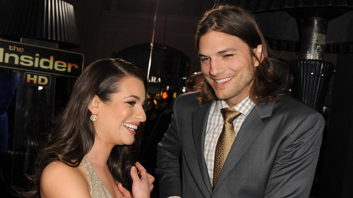 Lea Michele and Ashton Kutcher at the premiere of New Year's Eve