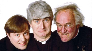 Dermot Morgan with his Father Ted co-stars Ardal O'Hanlon and Frank Kelly