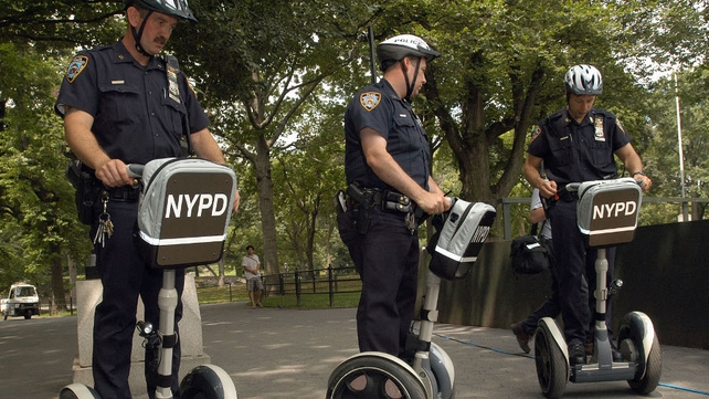 New York Police Department officers on their segways