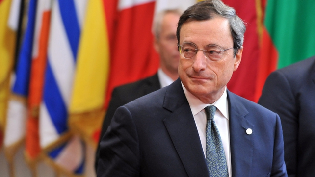 Mario Draghi presenting economic projections stretching into 2016 for the first time
