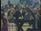 Fianna Fáil supporters and candidates celebrating at a count centre in Galway during the 1977 general election.
