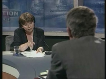 Mary Harney and Dick Spring during a television debate for the 1997 general election.