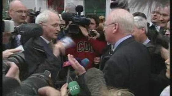 John Gormley and Michael McDowell debate on the street during the 2007 general election campaign.