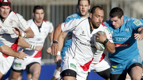Ulster prop John Afoa carries the ball against Aironi