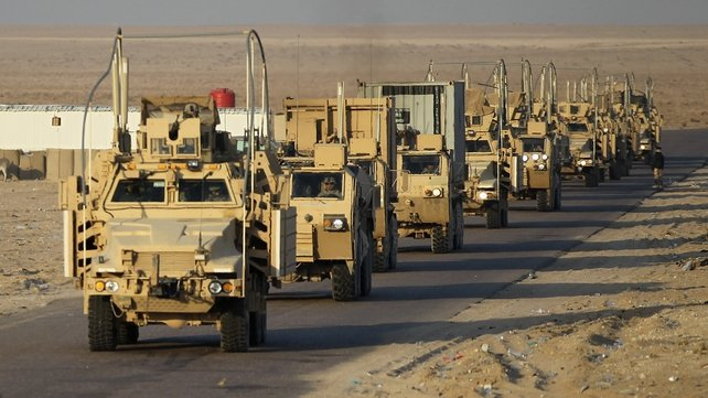 The final section of the last American military convoy to depart Iraq from the 3rd Brigade, 1st Cavalry Division