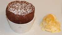 Hot Chocolate Soufflé and Glacé Grand Marnier with Orange Chocolate - A delicious and decadent chocolate treat!