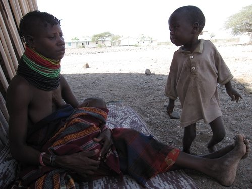 Alimlim Ekiru and her son Etabo. Etabo is being treated for malnourishment.
