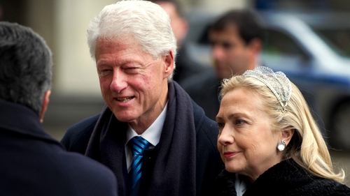 Bill and Hillary Clinton were among the mourners