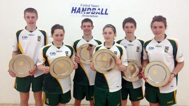 The Irish team show off their silverware