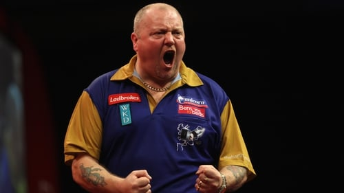 Hamilton shows his delight at reaching the PDC decider