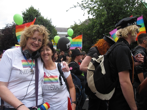 Rita Ann and Mitzie at the Pride parade in Dublin, 2011.