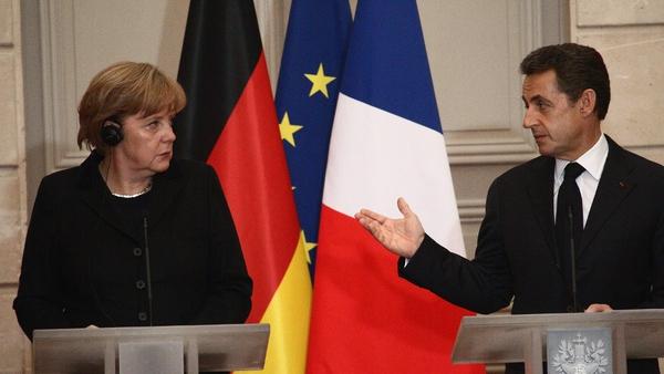 Angela Merkel and Nicolas Sarkozy meeting in Berlin