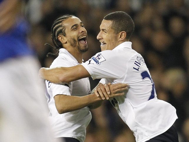 Benoit Assou-Ekotto and Aaron Lennon - The Spurs goalscorers celebrate