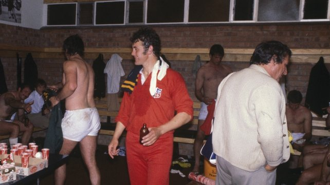 Colm Tucker (middle, in red) visits the South African dressing room during the 1980 tour