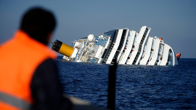 The cruise ship ran aground and keeled over off the island of Giglio