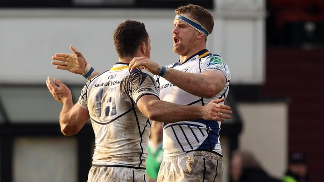 Rob Kearney and Jamie Heaslip celebrate