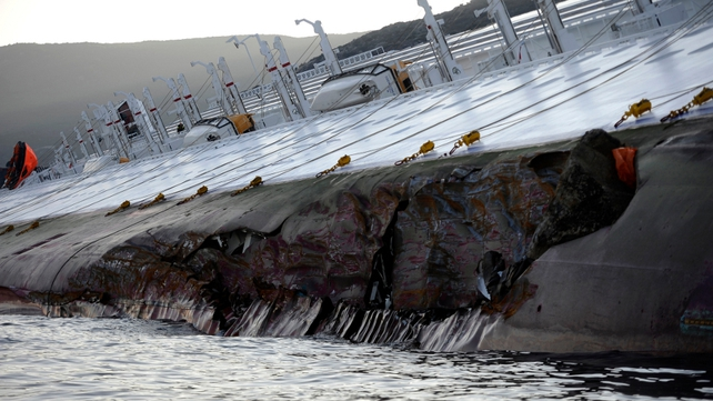 The hull of the giant vessel has been badly damaged