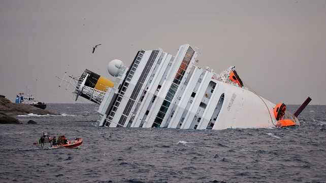 The Costa Concordia was slipping from its position on the rocks