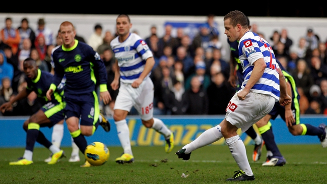 QPR's Heidar Helgusson opened the scoring from the penalty spot