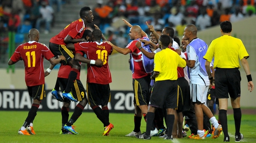 The Sable Antelopes celebrate Manucho's strike in Equatorial Guinea