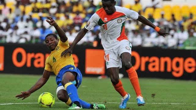Gabon's Remy Ebanega dispossesses Niger's Issoufou Alhassane in Libreville