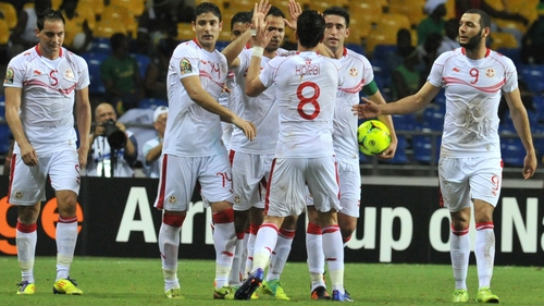Khaled Korbi celebrates with his Morocco team-mates