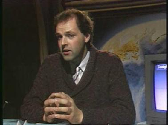 Gerald Fleming in the new RTÉ studio for weather forecasts introduced in 1988.