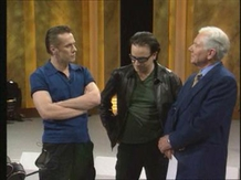 Larry Mullen and Bono with Gay Byrne who was presenting his last 'The Late Late Show'.