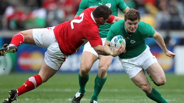 Huw Bennett tackling Brian O'Driscoll