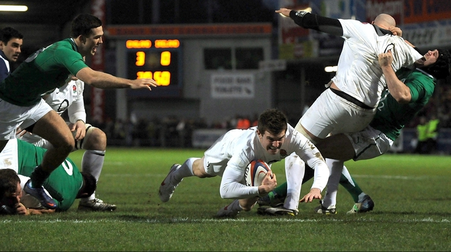 Ben Spencer touches down for England's opening try at Sandy Park in Exeter