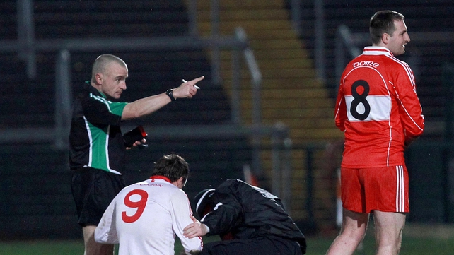 Derry's Jason Conway gets his marching orders in his county's defeat by Tyrone in the Dr McKenna Cup final