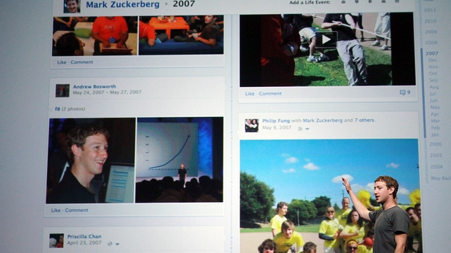 Facebook CEO Mark Zuckerberg shows off the new Timeline