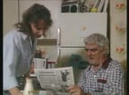 Ger Ryan as Bernie Kelly and Tom Jordan as Charlie Kelly in the first episode of 'Fair City' in 1989.