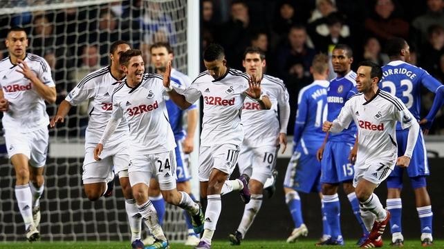 Swansea celebrate Scott Sinclair's first-half goal