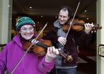 Inspired by Shostakovich, RTE NSO violinist David Clark with Mary Conor of Blow the Dust Off Your Trumpet Orchestra