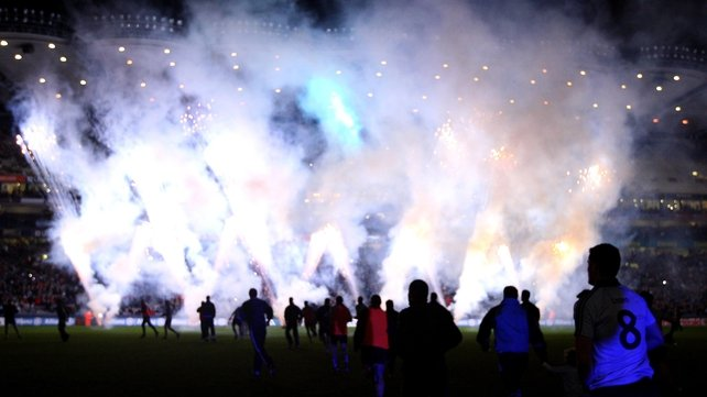 The Dublin players enter the pitch to a fireworks display for the Spring Series at Croke Park