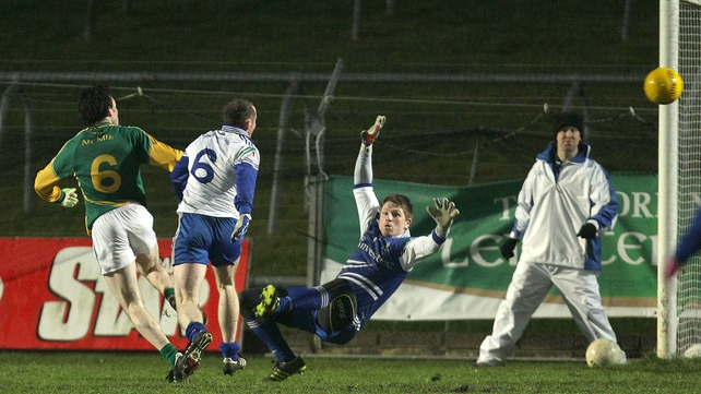 Meath's Shane McAnarney scores a late goal to seal the victory for the Royals against Monaghan