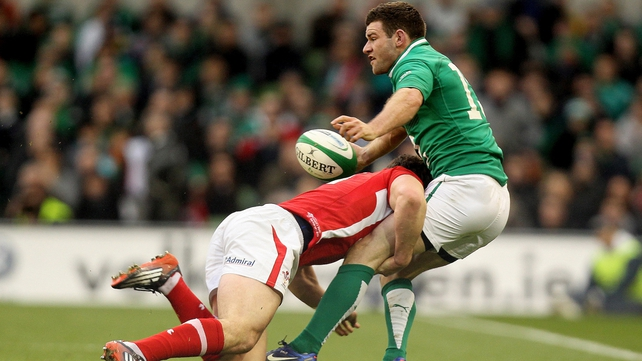 Fergus McFadden is tackled by George North