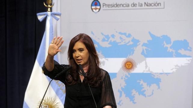 "Cristina Kirchner said Britain is ""militarising the south Atlantic"""