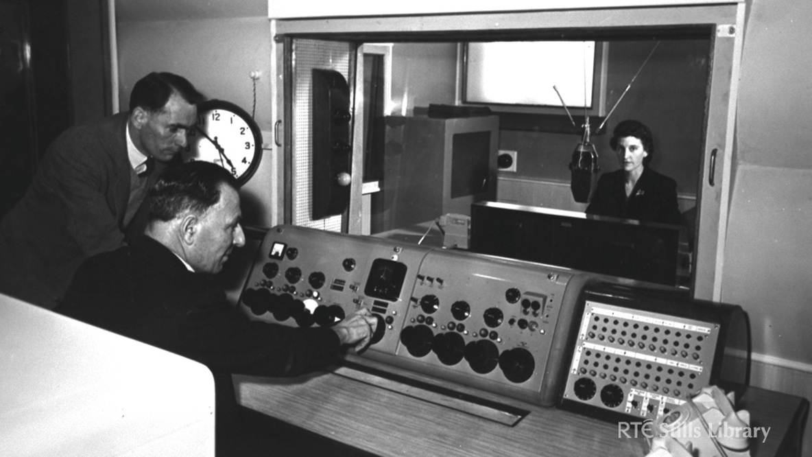 Continuity Studio, GPO: official opening Jim Power, Michael Keyes, Minister of Posts and Telegraphs, and Síle Ní Bhriain 19 April 1956 © RTÉ Stills Library 0286_091