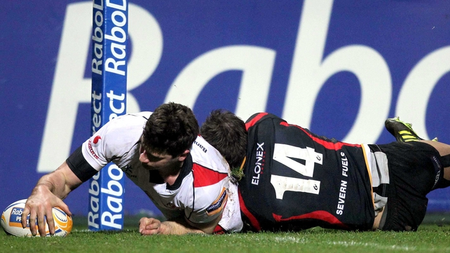 Robbie Diack touches down for Ulster's first try