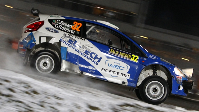Craig Breen in action on day two in Sweden