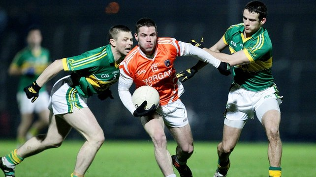 Shane Enright and Eugene McVerry tussle - Armagh secured a surprise victory over Kerry
