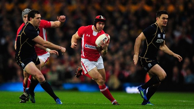 Wales's Leigh Halfpenny in full flight