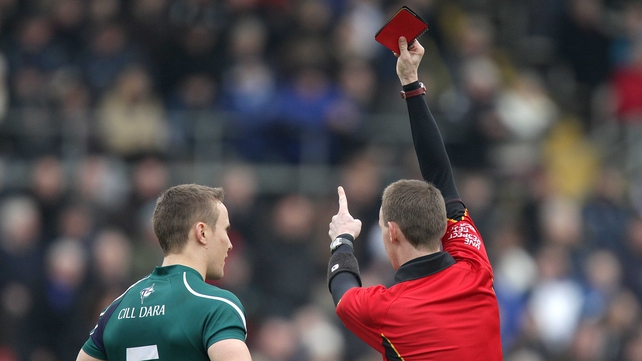 Brian Flanagan of Kildare is red carded