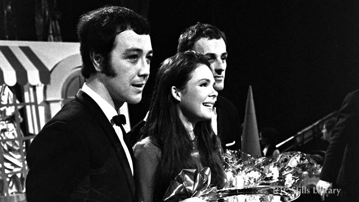 Dana wins National Song Contest in 1970. Jackie Smith, Dana and Derry Lindsay  © RTÉ Stills Library 2024/060