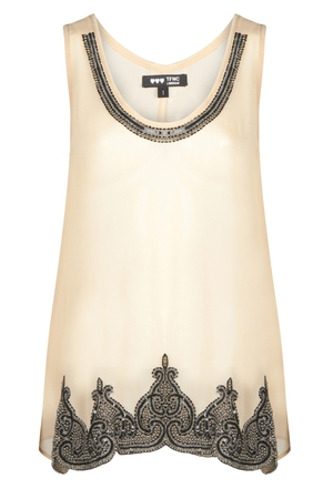 Nude Chiffon Vest with Embellished Detail €48 by Fashion Union