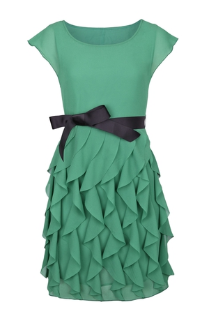Green Frill Dress with Bow Belt Detail  €50 by Fashion Union