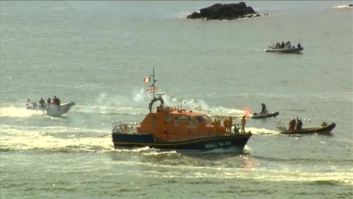 A lifeboat was dispatched to the scene where four children had become stranded