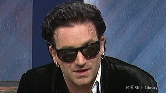 Bono on 'Kenny Live' (1992) © RTÉ Stills Library 3036-029